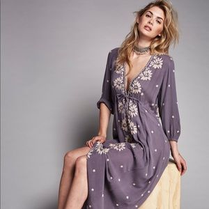 Free People fable embroidered maxi dress XS